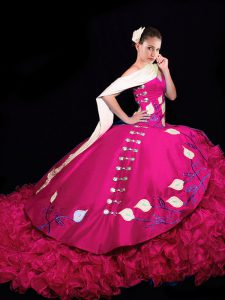 Suitable Fuchsia 15 Quinceanera Dress V-neck Sleeveless Brush Train Lace Up
