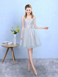 Wonderful Knee Length Lace Up Quinceanera Court of Honor Dress Silver for Wedding Party with Lace