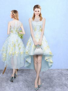 Fantastic Apple Green Sleeveless High Low Appliques and Pattern Zipper Dama Dress for Quinceanera
