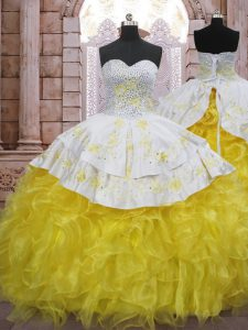 Modern Yellow And White Lace Up Sweetheart Beading and Appliques and Ruffles Ball Gown Prom Dress Organza Sleeveless Brush Train