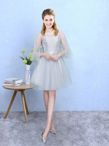 Knee Length Silver Quinceanera Court Dresses Square Half Sleeves Lace Up