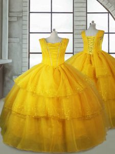 High Class Gold Organza Lace Up Custom Made Pageant Dress Sleeveless Floor Length Ruffled Layers