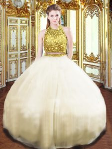 Stunning Champagne Sleeveless Beading Floor Length Ball Gown Prom Dress