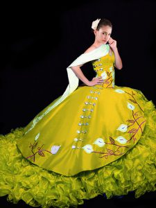 Sleeveless Organza Brush Train Lace Up Quinceanera Dress in Gold with Embroidery and Ruffles