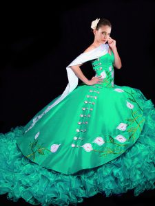 Glorious Brush Train Ball Gowns Quinceanera Gown Turquoise Sweetheart Organza Sleeveless Lace Up