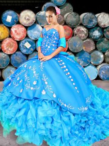 Baby Blue Ball Gown Prom Dress Sweetheart Sleeveless Brush Train Lace Up