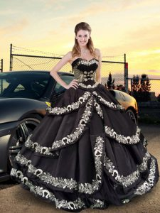 Nice Embroidery and Ruffled Layers Sweet 16 Dresses Black Lace Up Sleeveless Floor Length