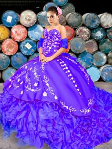 Purple Ball Gowns Sweetheart Sleeveless Organza Brush Train Lace Up Embroidery and Ruffles Sweet 16 Dresses