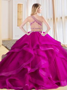 Red Two Pieces Tulle One Shoulder Sleeveless Beading and Ruffles Floor Length Criss Cross Quinceanera Gown