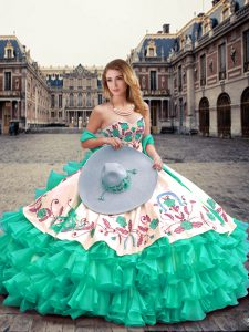 Elegant Floor Length Lace Up 15 Quinceanera Dress Turquoise for Military Ball and Sweet 16 and Quinceanera with Embroidery and Ruffled Layers