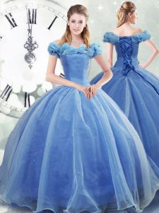 Glittering Brush Train Ball Gowns Quinceanera Gowns Light Blue Off The Shoulder Organza Sleeveless Lace Up