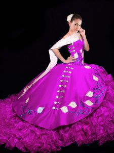 Stylish Taffeta Sleeveless Quinceanera Dresses Brush Train and Embroidery and Ruffles