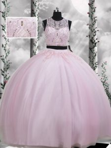 Baby Pink Zipper Scoop Beading and Appliques Quinceanera Gowns Tulle Sleeveless