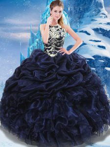 High-neck Sleeveless Quinceanera Dresses Floor Length Appliques and Ruffles and Pick Ups Navy Blue Taffeta
