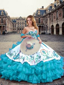 Blue And White Sweetheart Lace Up Embroidery and Ruffled Layers Vestidos de Quinceanera Sleeveless
