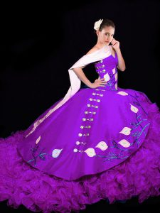 Beauteous Sleeveless Embroidery and Ruffles Lace Up Sweet 16 Quinceanera Dress with Eggplant Purple Brush Train