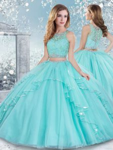 Cute Floor Length Clasp Handle 15th Birthday Dress Aqua Blue for Military Ball and Sweet 16 and Quinceanera with Beading and Lace