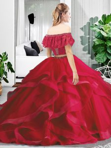 Enchanting Red Sleeveless Lace and Ruffles Floor Length Sweet 16 Dresses