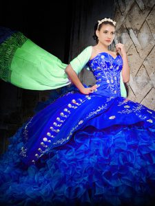 Edgy Ball Gowns Sleeveless Royal Blue Quinceanera Dresses Brush Train Lace Up
