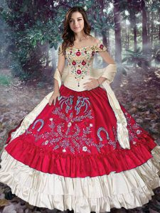 Customized Sleeveless Taffeta Floor Length Lace Up Sweet 16 Dresses in Red with Embroidery and Ruffled Layers