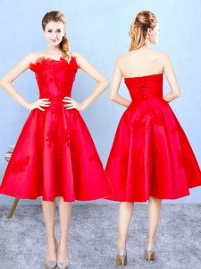 High End Red A-line Strapless Sleeveless Satin Knee Length Lace Up Appliques and Ruffles Quinceanera Court of Honor Dress
