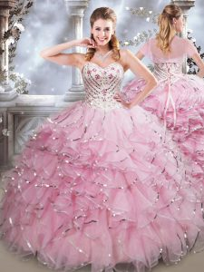 Sleeveless Floor Length Beading and Ruffles Lace Up Quinceanera Gowns with Baby Pink
