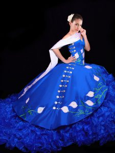 Royal Blue Sleeveless Brush Train Embroidery and Ruffles Sweet 16 Dresses