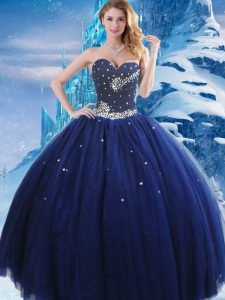 Deluxe Navy Blue Sleeveless Tulle Lace Up Ball Gown Prom Dress for Military Ball and Sweet 16 and Quinceanera
