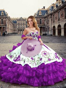 Eggplant Purple Organza Lace Up Vestidos de Quinceanera Sleeveless Floor Length Embroidery and Ruffled Layers