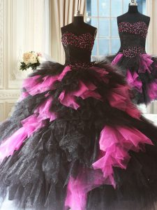 Tulle Sweetheart Sleeveless Lace Up Beading and Ruffles Sweet 16 Quinceanera Dress in Pink And Black