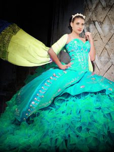 Admirable Sweetheart Sleeveless Ball Gown Prom Dress With Brush Train Embroidery and Ruffles Turquoise Organza