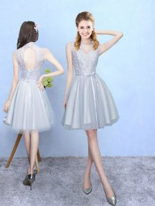 Attractive Sleeveless Knee Length Lace Lace Up Court Dresses for Sweet 16 with Silver