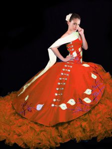 Rust Red Taffeta Lace Up V-neck Sleeveless Quinceanera Dress Brush Train Embroidery and Ruffles