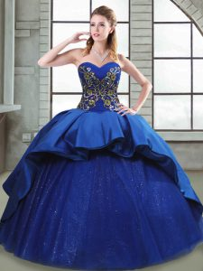 Custom Design Blue Sweetheart Lace Up Beading and Appliques and Embroidery Quinceanera Dress Court Train Sleeveless