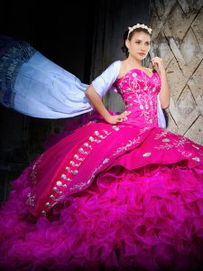 Sleeveless Brush Train Embroidery and Ruffles Lace Up Quinceanera Gowns