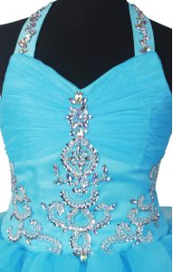 Beading and Ruffled Layers Pageant Dress for Teens Baby Blue Zipper Sleeveless Floor Length