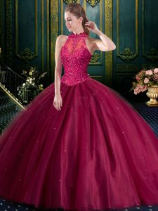 Exquisite Sleeveless Floor Length Beading and Lace Lace Up Quinceanera Dresses in Burgundy