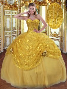Pretty Floor Length Lace Up Quinceanera Gowns Gold for Military Ball and Sweet 16 and Quinceanera with Pick Ups and Hand Made Flower