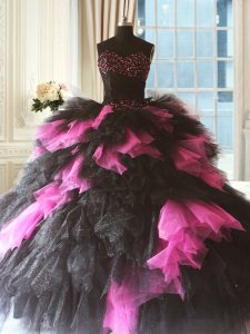 Pink And Black Sleeveless Beading and Ruffles Floor Length Quinceanera Gowns