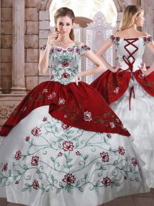 Deluxe Floor Length White And Red Quince Ball Gowns Taffeta Sleeveless Embroidery and Ruffled Layers