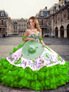 Sweetheart Sleeveless Sweet 16 Dress Floor Length Embroidery and Ruffled Layers Green Organza