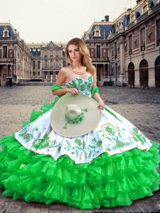 Fashion Sweetheart Sleeveless Lace Up Quince Ball Gowns Green Organza and Taffeta