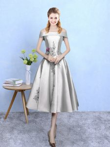Appliques Court Dresses for Sweet 16 Silver Lace Up Sleeveless Tea Length