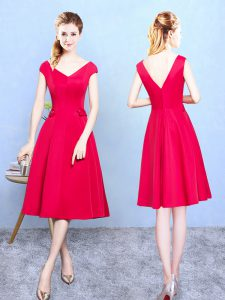 Deluxe Red Satin Zipper V-neck Cap Sleeves Tea Length Quinceanera Court Dresses Ruching