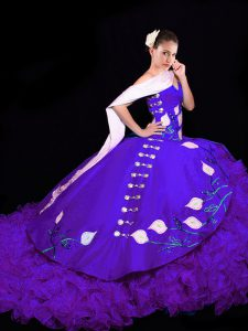Purple Lace Up Sweetheart Embroidery and Ruffles Sweet 16 Dresses Organza Sleeveless Brush Train