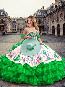 Clearance Sleeveless Floor Length Embroidery and Ruffled Layers Lace Up Quinceanera Gown with Green