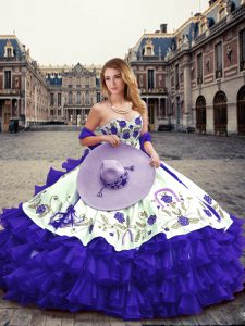 Super Floor Length Lace Up 15 Quinceanera Dress Purple for Military Ball and Sweet 16 and Quinceanera with Embroidery and Ruffled Layers