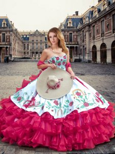 Fitting Sweetheart Sleeveless 15 Quinceanera Dress Floor Length Embroidery and Ruffled Layers Fuchsia Organza