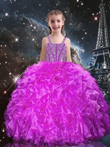 Discount Organza Sleeveless Floor Length High School Pageant Dress and Beading and Ruffles