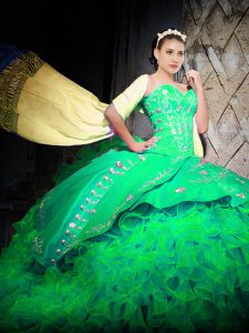 Free and Easy Green 15th Birthday Dress Military Ball and Sweet 16 and Quinceanera with Embroidery and Ruffles Sweetheart Sleeveless Brush Train Lace Up